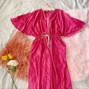 Vintage 70s Bell Sleeve Hot Pink Lounge Maxi